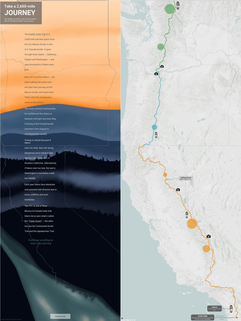 Side by side screenshots of the U.S. west coast states: California, Oregon and Washington. The left side has a lot of text that scrolls down the map, the right side has a trail marked from Mexico to Canada with annotations and icons along it.